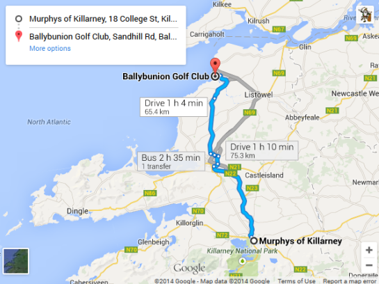 Trip - Murphys Hotel Killarney to Ballybunion Golf Club