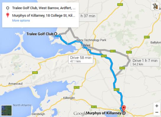 Trip - Tralee Golf Club to Murphys Hotel Killarney